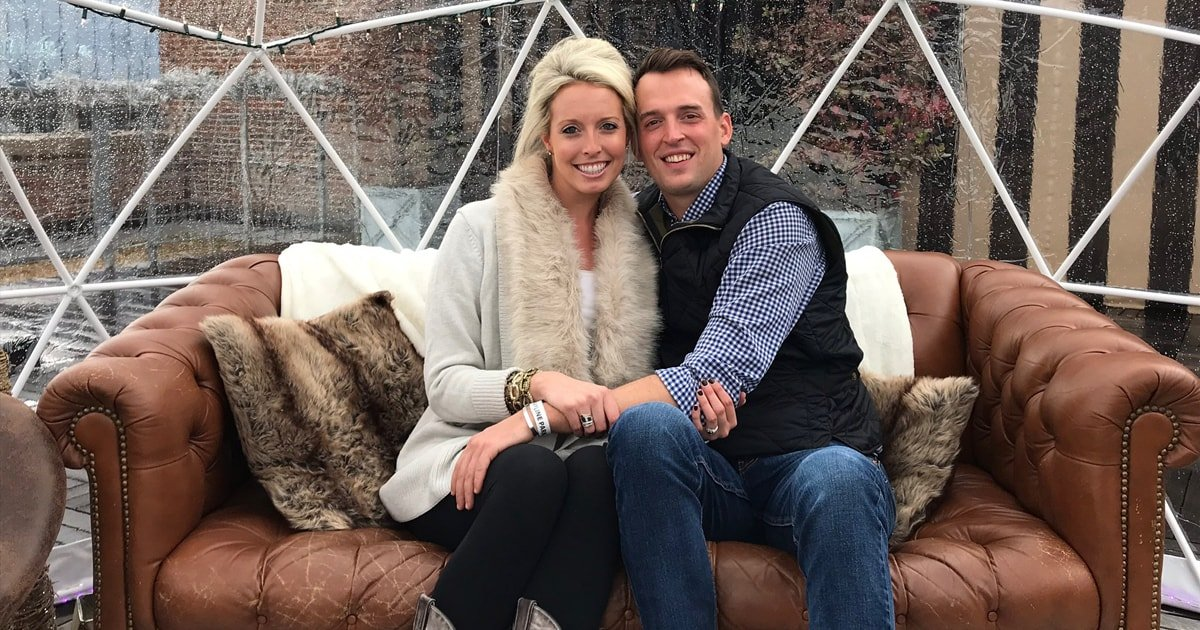 Luke Clark and Lauren Mills at Ponce City Market for the Ice Igloo